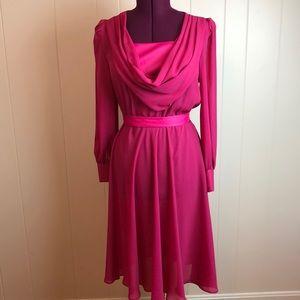 Vintage 70s/80s Red Pink Cowl Neck Disco Dress
